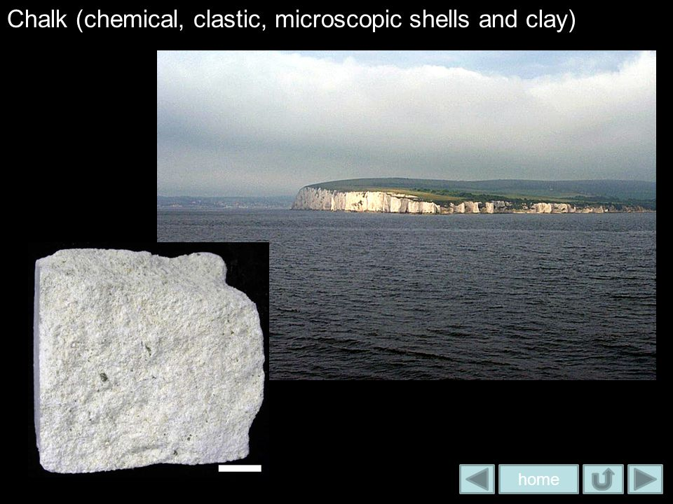Chalk (chemical, clastic, microscopic shells and clay)
