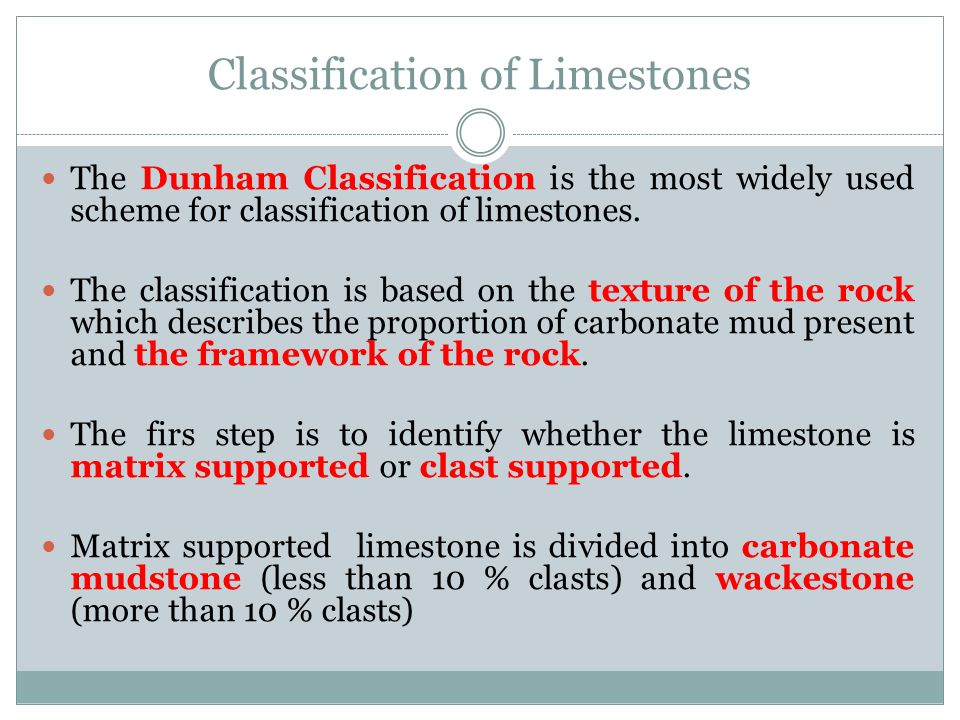 Classification of Limestones