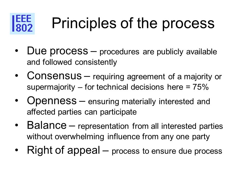 Principles of the process