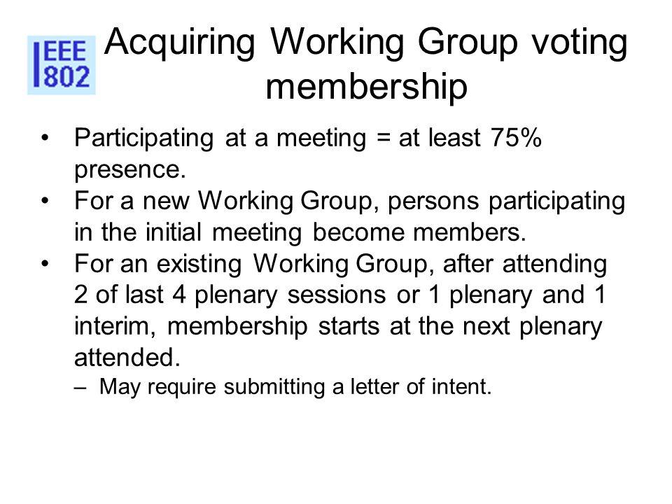 Acquiring Working Group voting membership