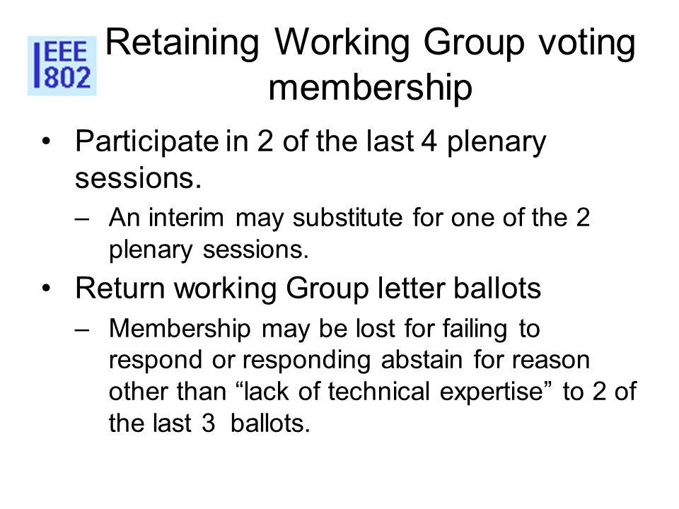 Retaining Working Group voting membership