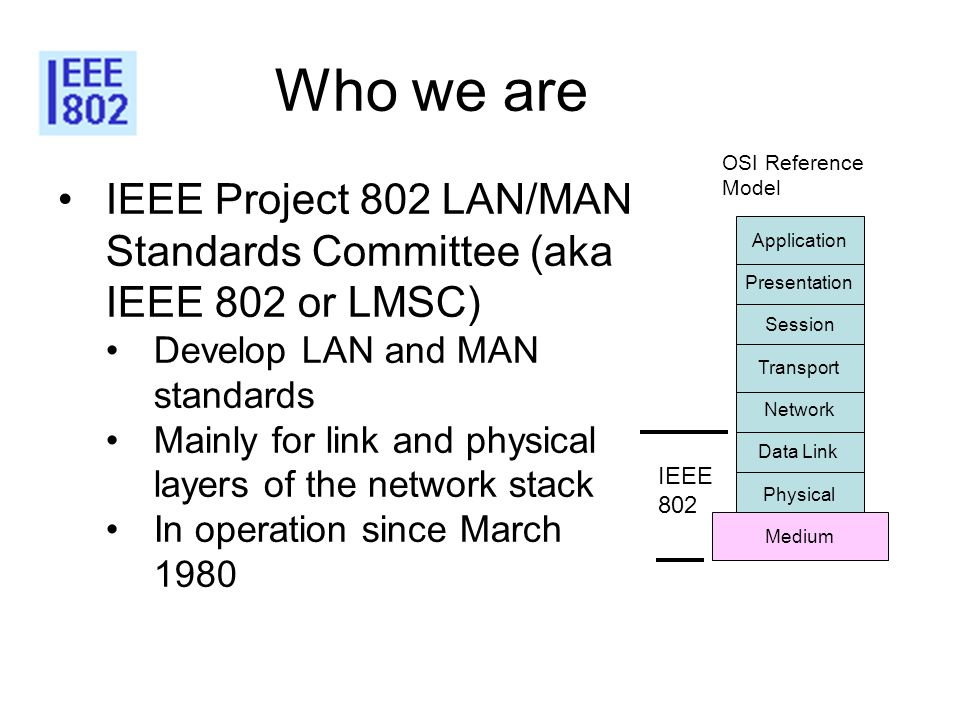 4 Who we are. OSI Reference. Model. IEEE Project 802 LAN/MAN Standards Committee (aka IEEE 802 or LMSC)