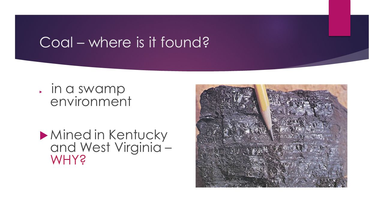 Coal – where is it found Mined in Kentucky and West Virginia – WHY