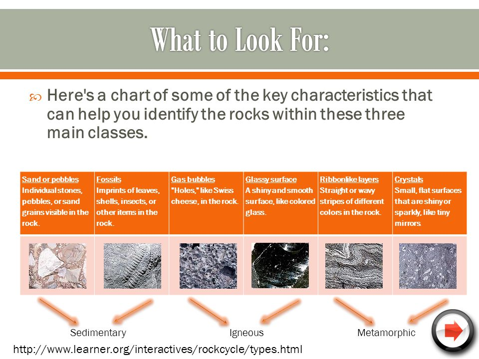 What to Look For: Here s a chart of some of the key characteristics that can help you identify the rocks within these three main classes.