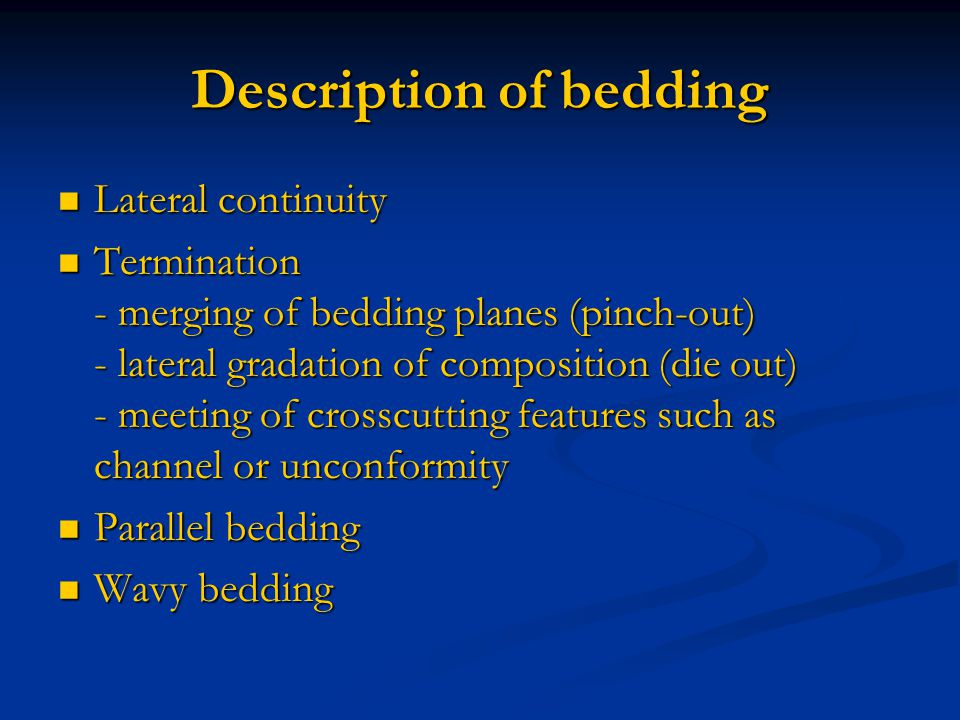 Description of bedding