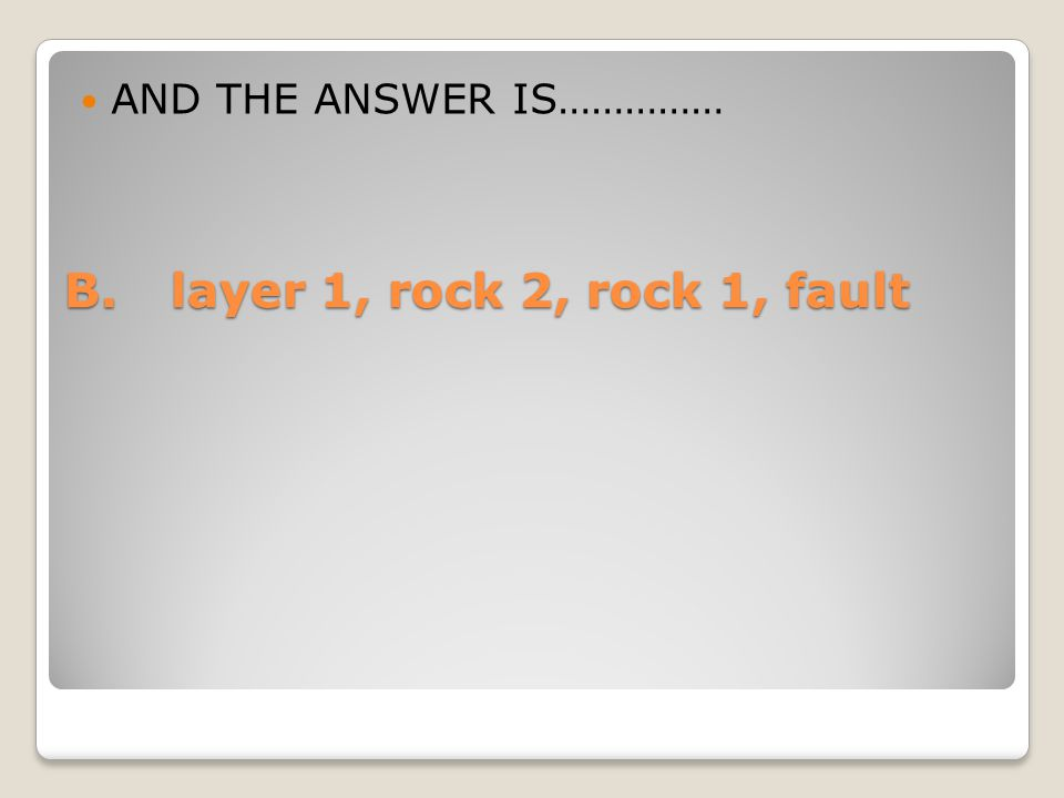 AND THE ANSWER IS…………… B. layer 1, rock 2, rock 1, fault