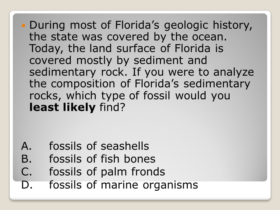 During most of Florida's geologic history, the state was covered by the ocean. Today, the land surface of Florida is covered mostly by sediment and sedimentary rock. If you were to analyze the composition of Florida's sedimentary rocks, which type of fossil would you least likely find