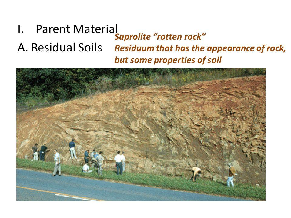 Parent Material A. Residual Soils Saprolite rotten rock