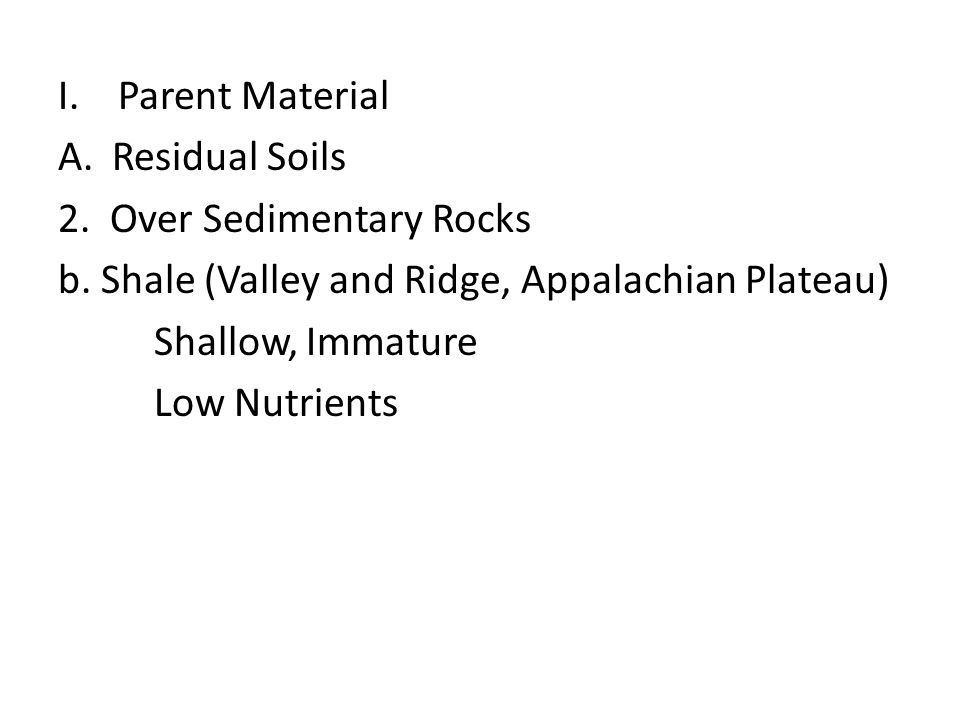 Parent Material Residual Soils. 2. Over Sedimentary Rocks. b. Shale (Valley and Ridge, Appalachian Plateau)