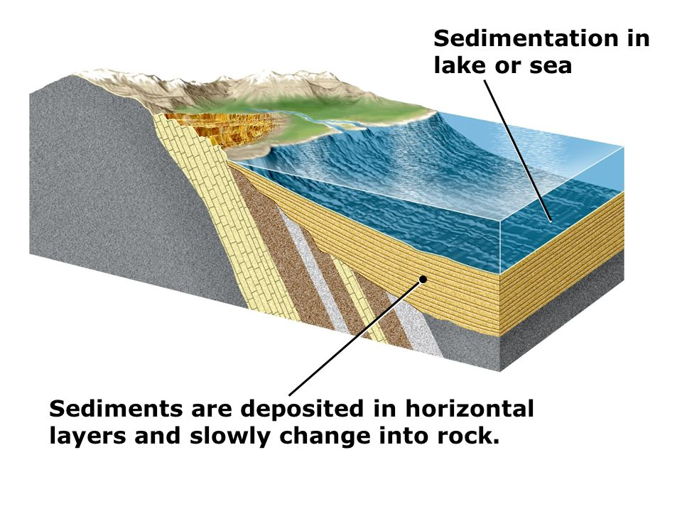 Sedimentation in lake or sea. Sediments are deposited in horizontal.