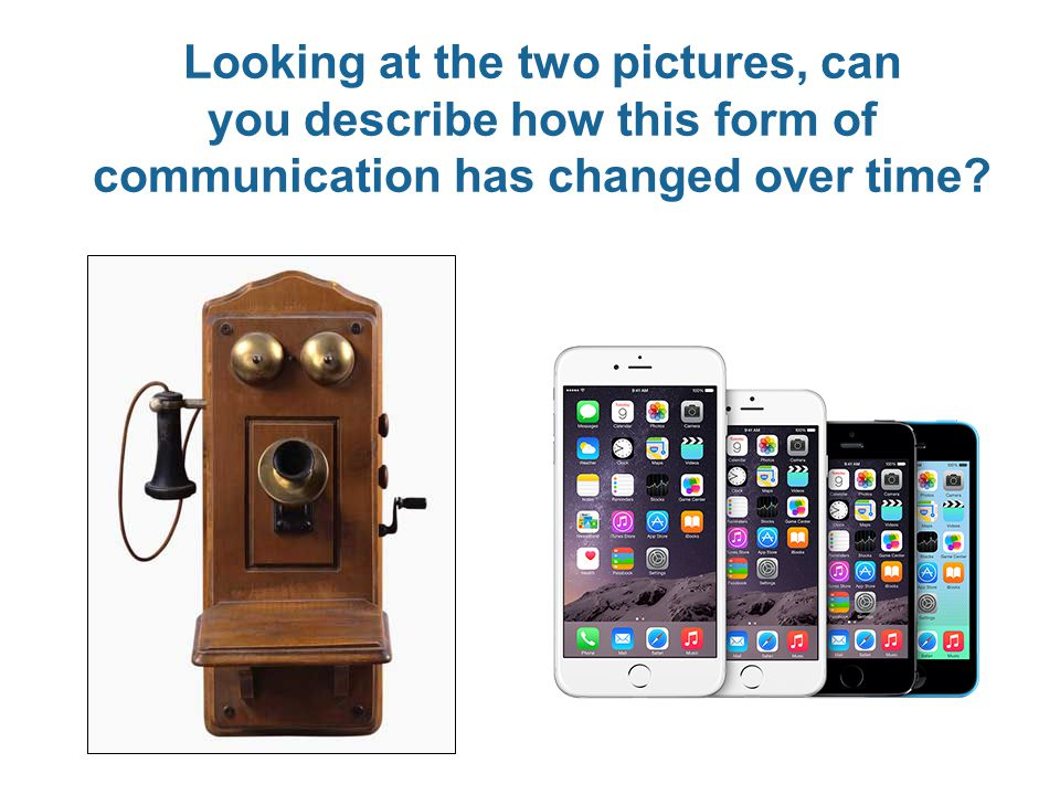 Looking at the two pictures, can you describe how this form of communication has changed over time