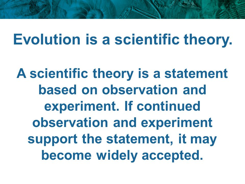 Evolution is a scientific theory.