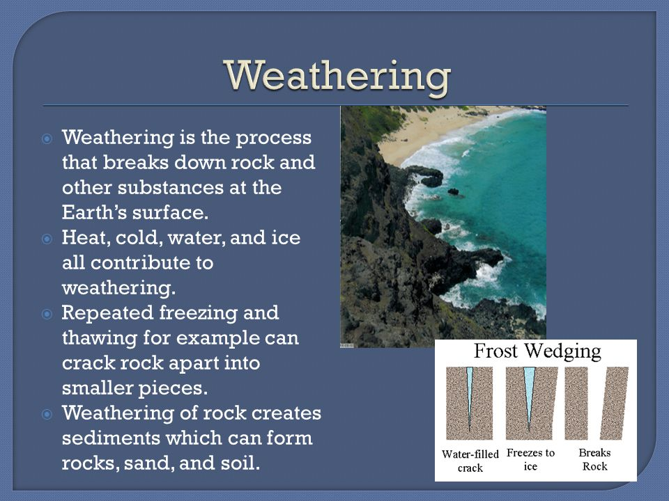 Weathering Weathering is the process that breaks down rock and other substances at the Earth's surface.