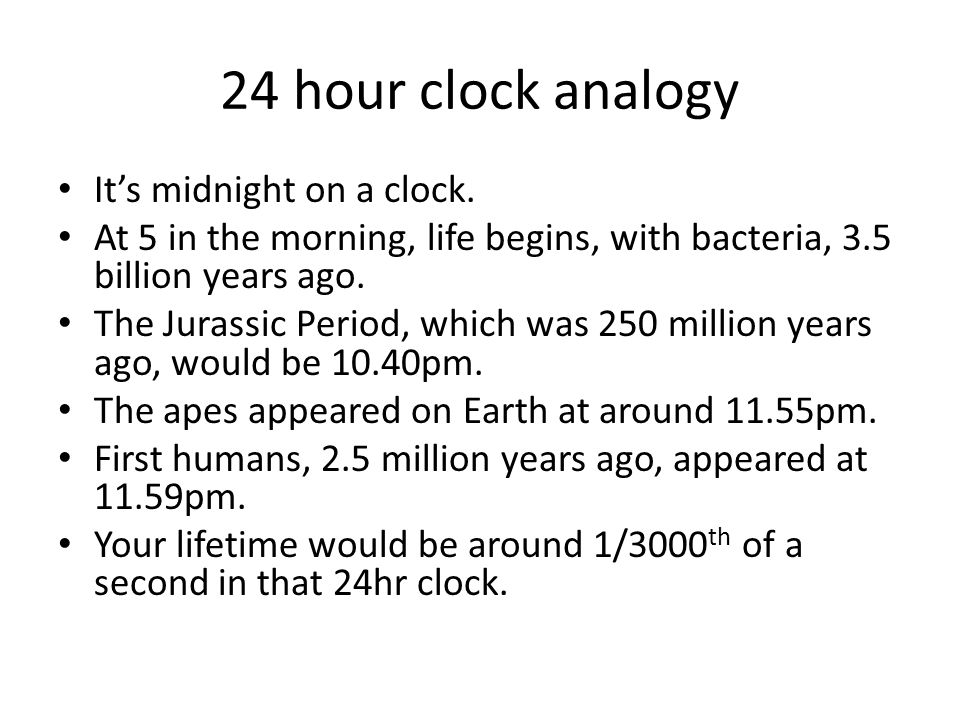 24 hour clock analogy It's midnight on a clock.