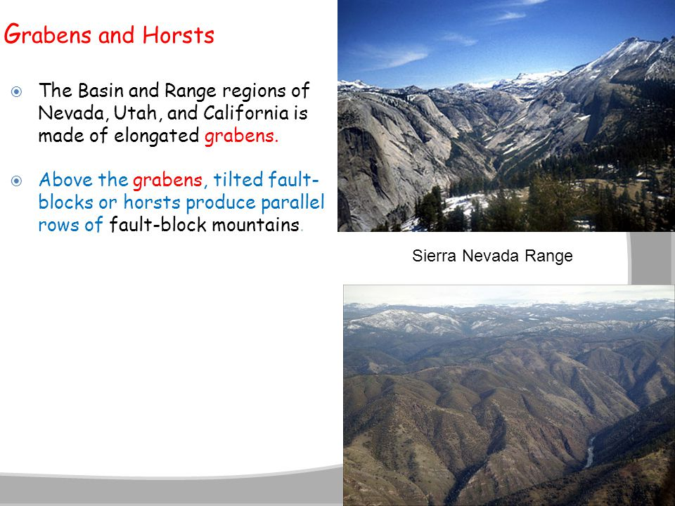 Grabens and Horsts The Basin and Range regions of Nevada, Utah, and California is made of elongated grabens.