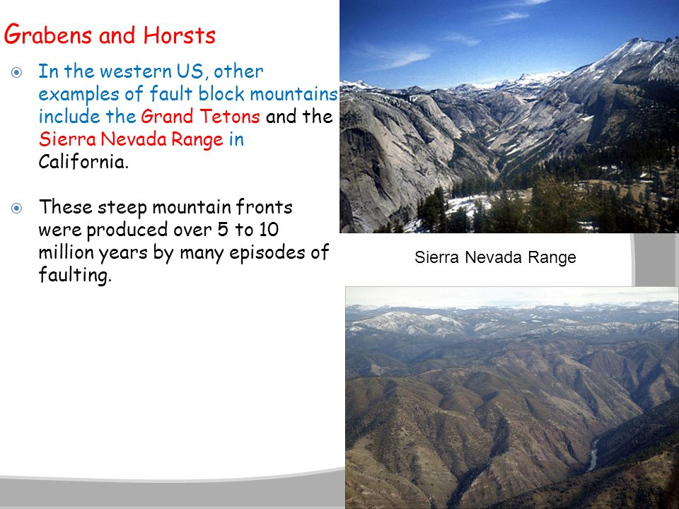 Grabens and Horsts In the western US, other examples of fault block mountains include the Grand Tetons and the Sierra Nevada Range in California.