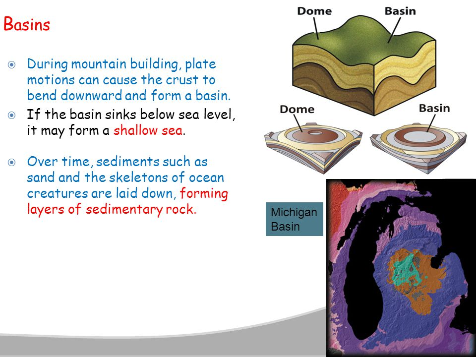 Basins During mountain building, plate motions can cause the crust to bend downward and form a basin.