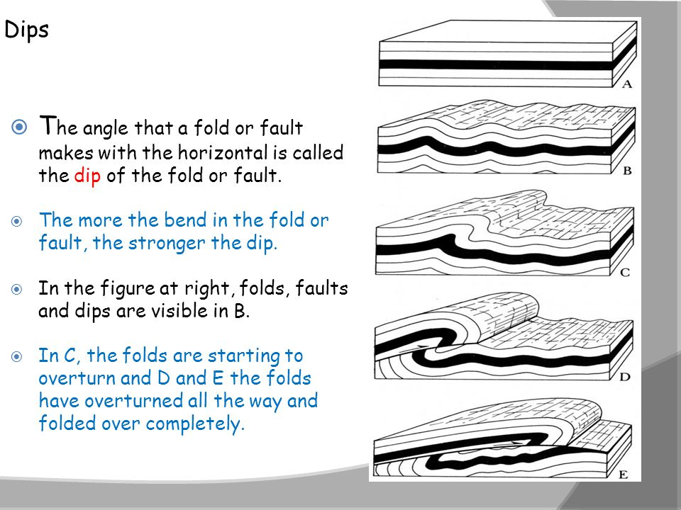 Dips The angle that a fold or fault makes with the horizontal is called the dip of the fold or fault.
