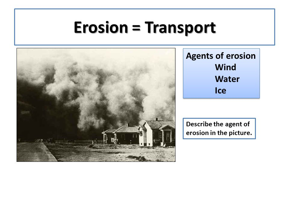 Erosion = Transport Agents of erosion Wind Water Ice