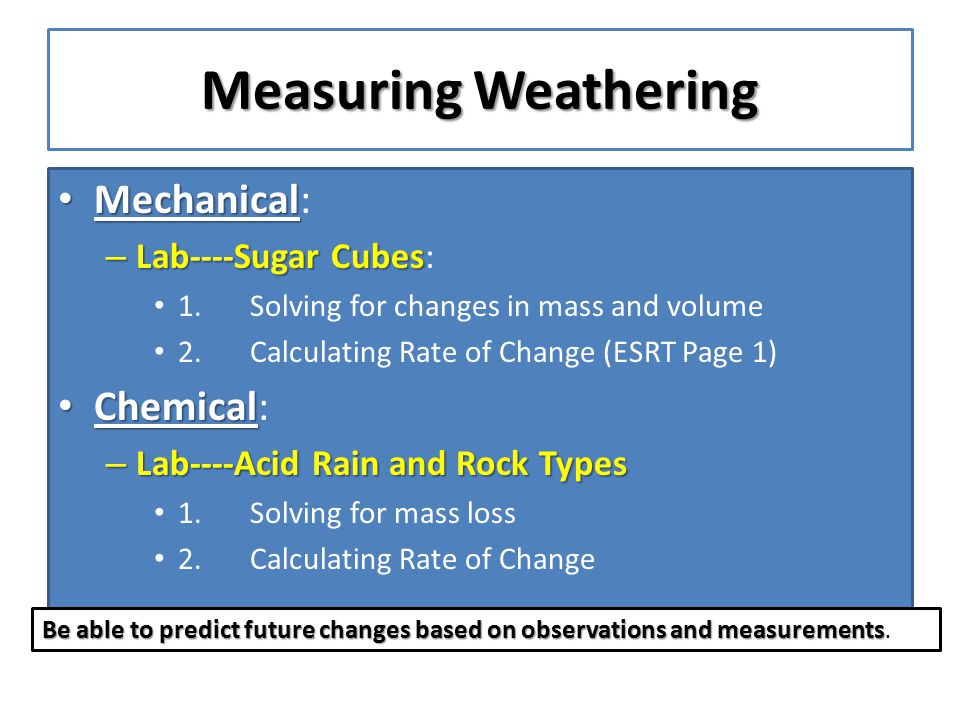 Measuring Weathering Mechanical: Chemical: Lab----Sugar Cubes: