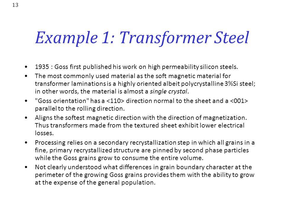 Example 1: Transformer Steel