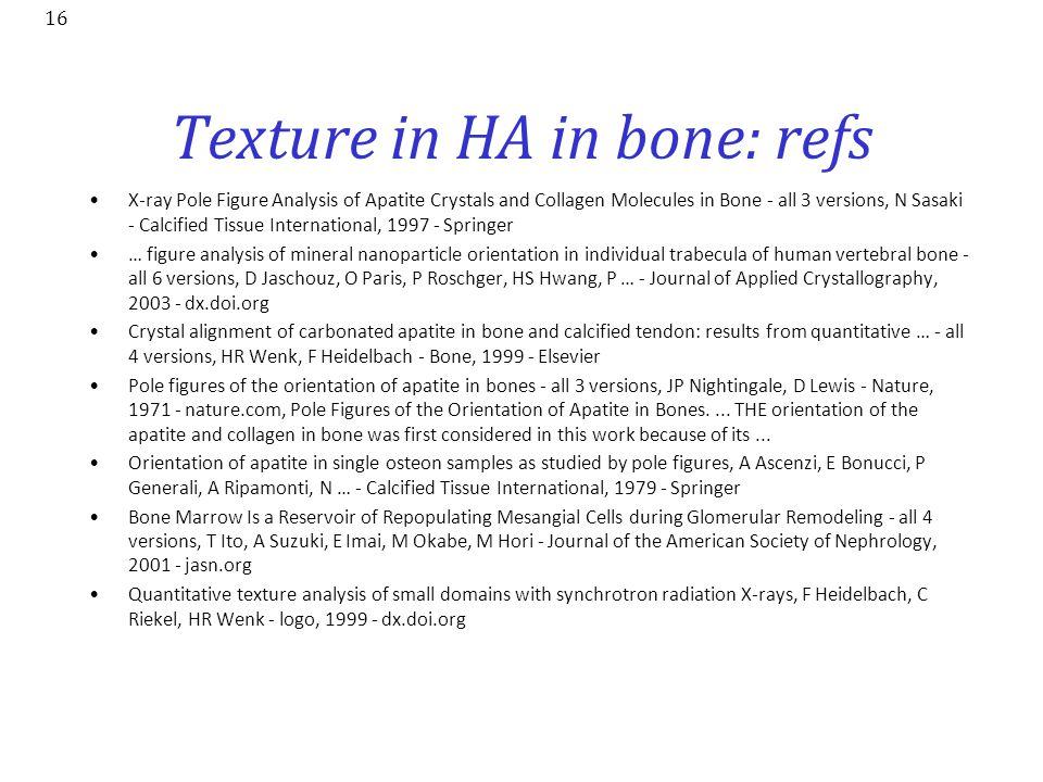 Texture in HA in bone: refs
