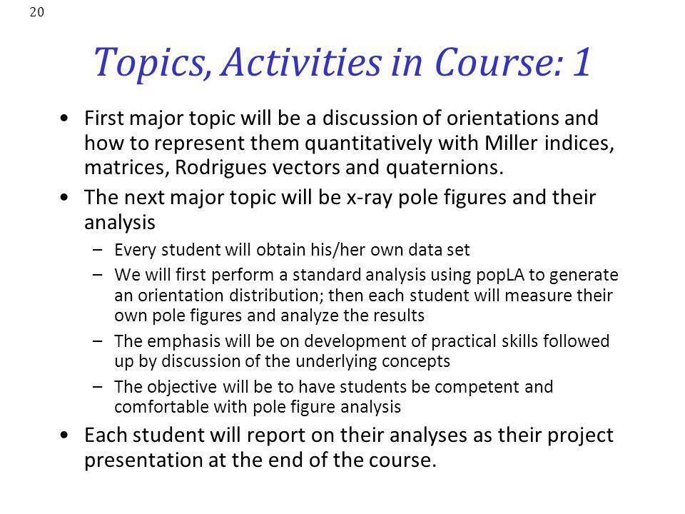 Topics, Activities in Course: 1