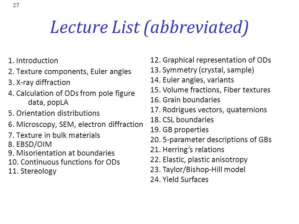 Lecture List (abbreviated)
