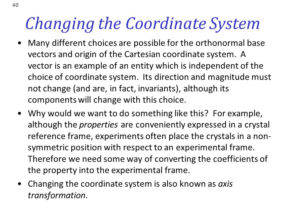 Changing the Coordinate System