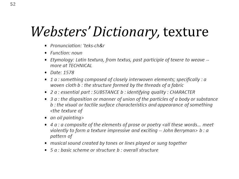 Websters' Dictionary, texture