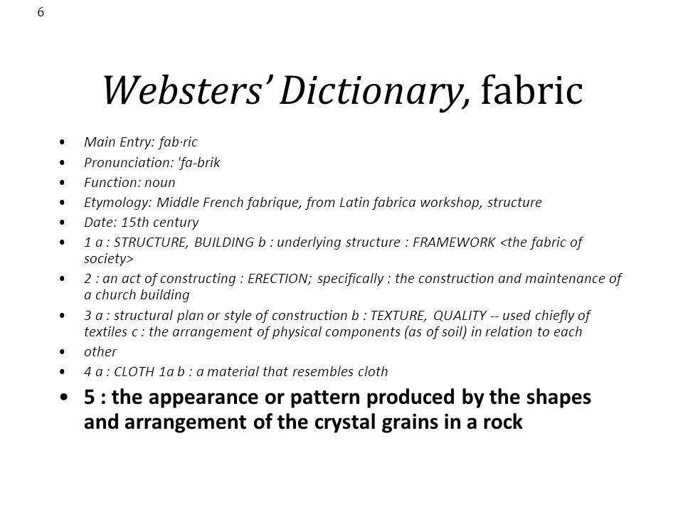 Websters' Dictionary, fabric