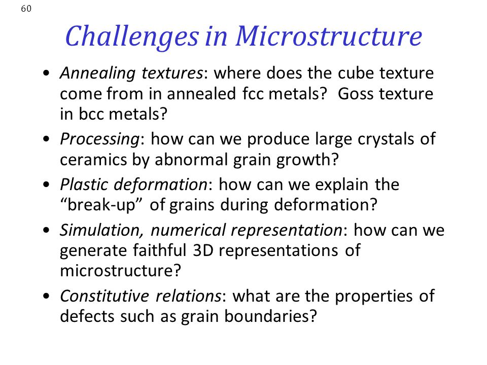Challenges in Microstructure