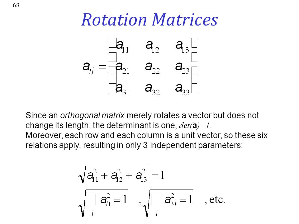 Rotation Matrices Since an orthogonal matrix merely rotates a vector but does not change its length, the determinant is one, det(a)=1.