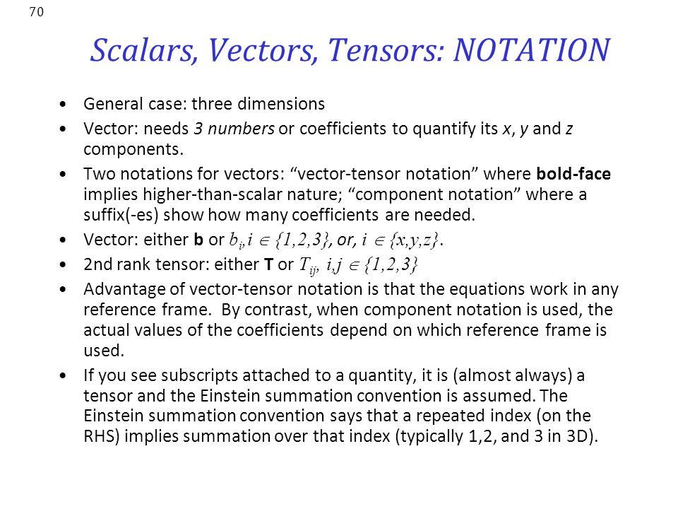 Scalars, Vectors, Tensors: NOTATION