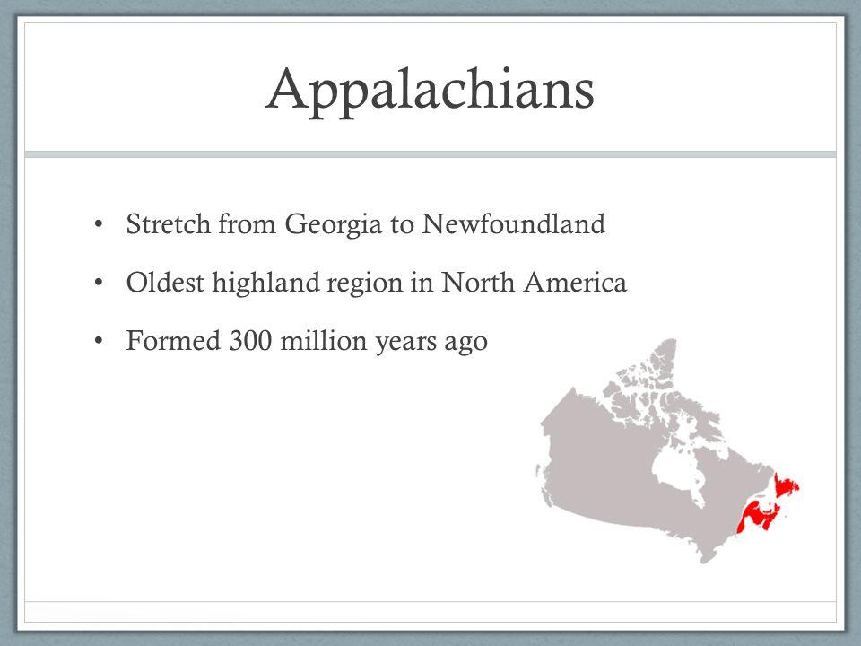 Appalachians Stretch from Georgia to Newfoundland
