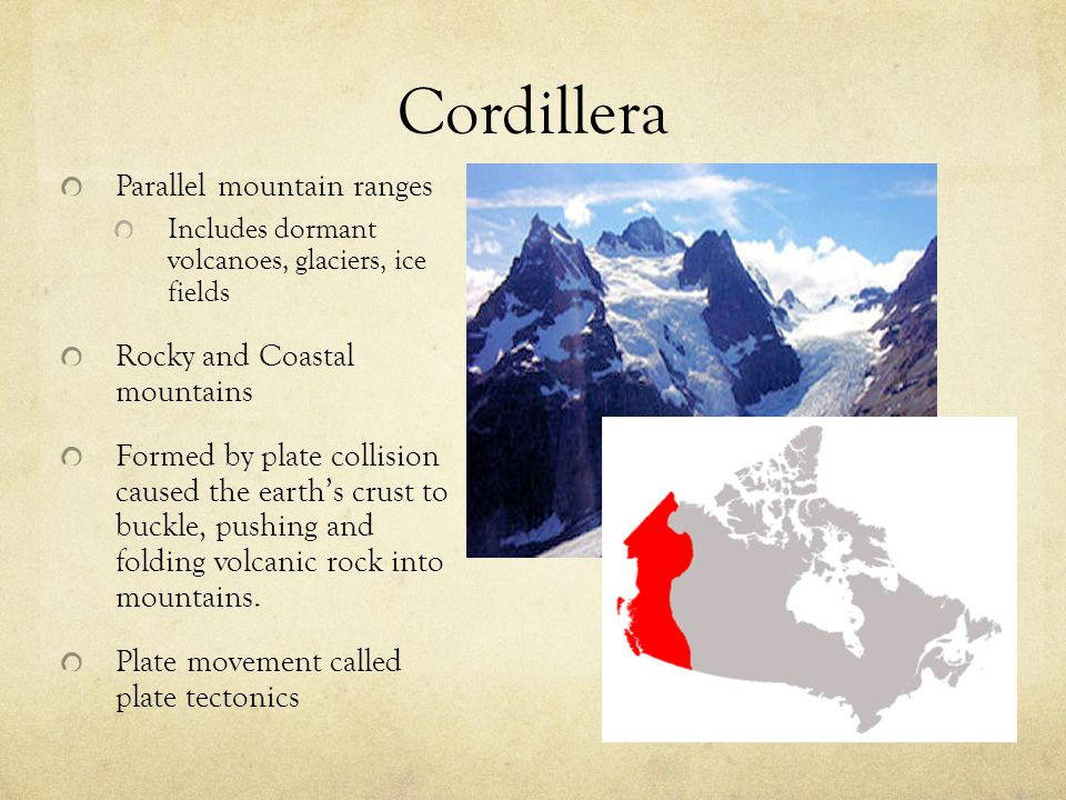 Cordillera Parallel mountain ranges Rocky and Coastal mountains