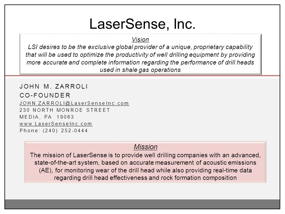 LaserSense, Inc. Mission Vision