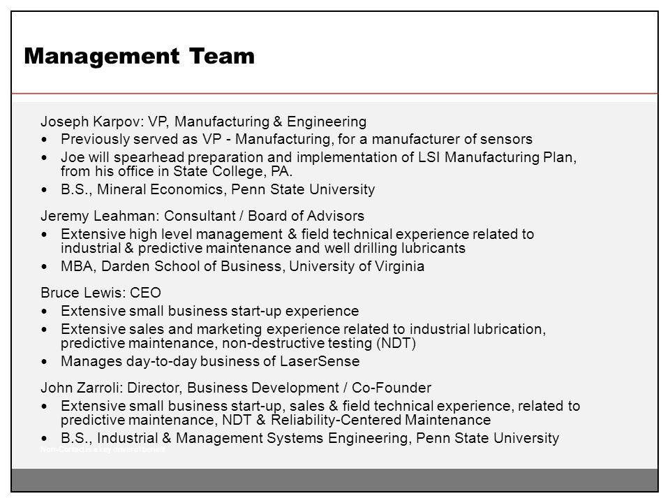 Management Team Joseph Karpov: VP, Manufacturing & Engineering