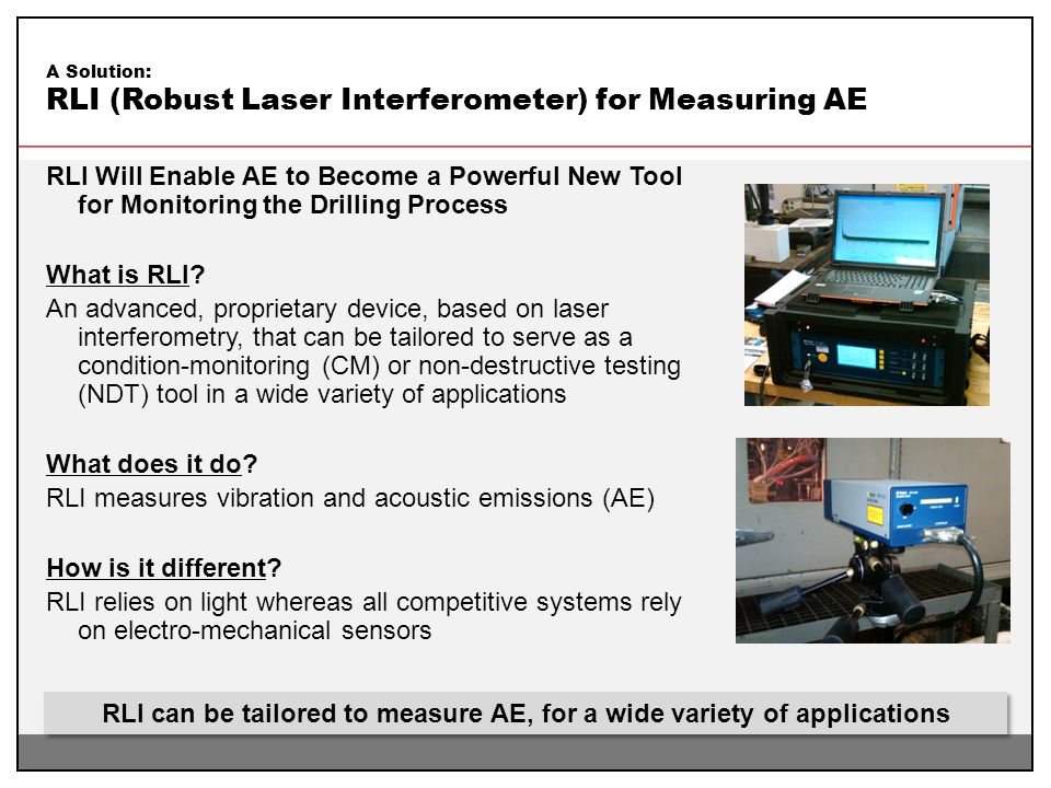RLI can be tailored to measure AE, for a wide variety of applications