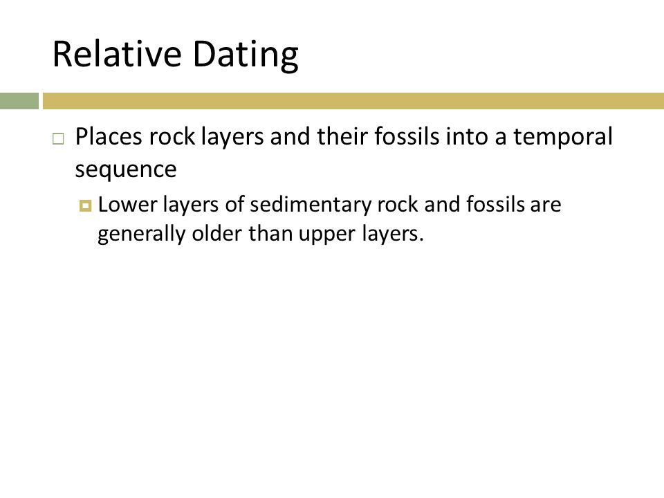 Relative Dating Places rock layers and their fossils into a temporal sequence.
