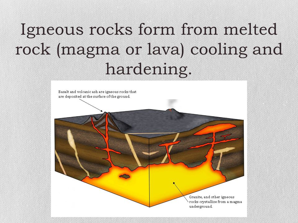 Igneous rocks form from melted rock (magma or lava) cooling and hardening.