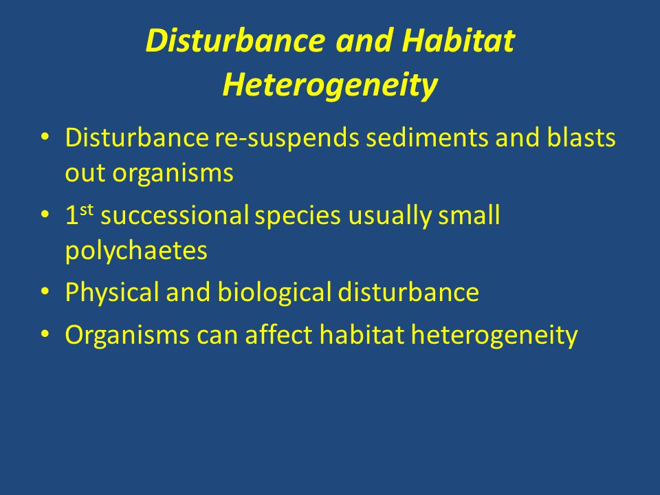 Disturbance and Habitat Heterogeneity