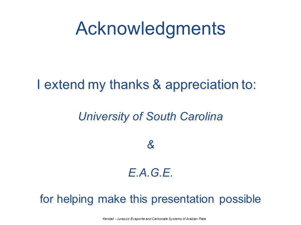 Acknowledgments I extend my thanks & appreciation to: