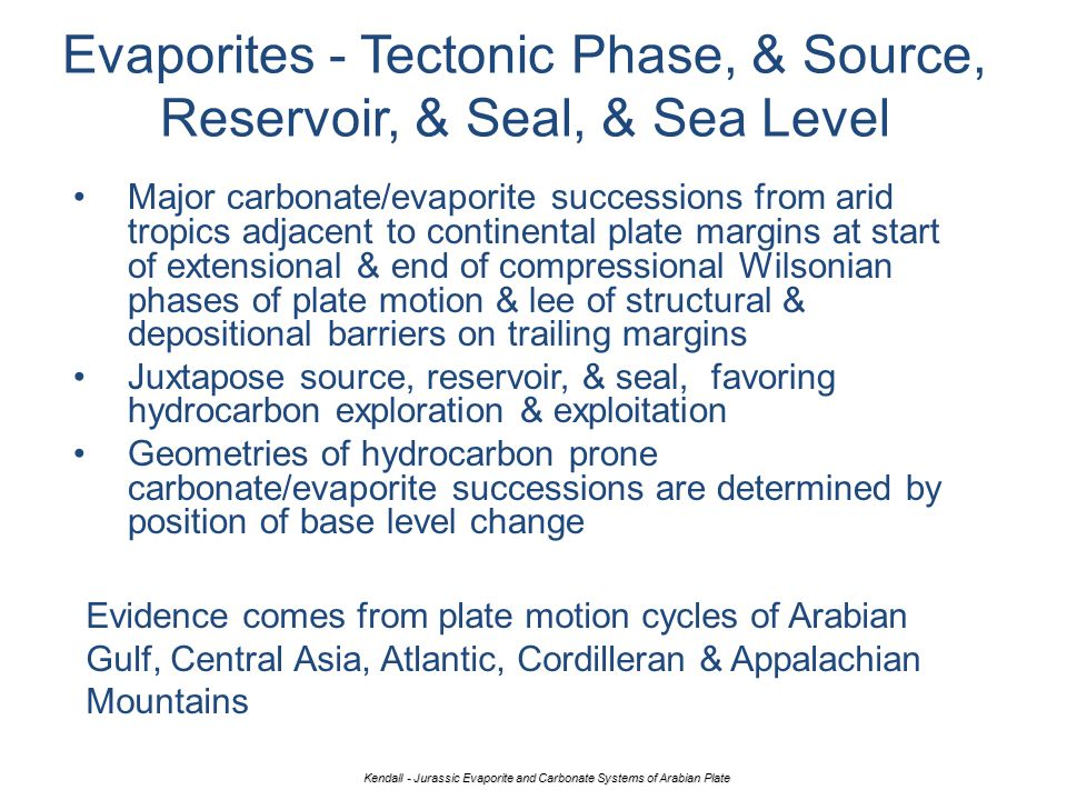 Evaporites - Tectonic Phase, & Source, Reservoir, & Seal, & Sea Level