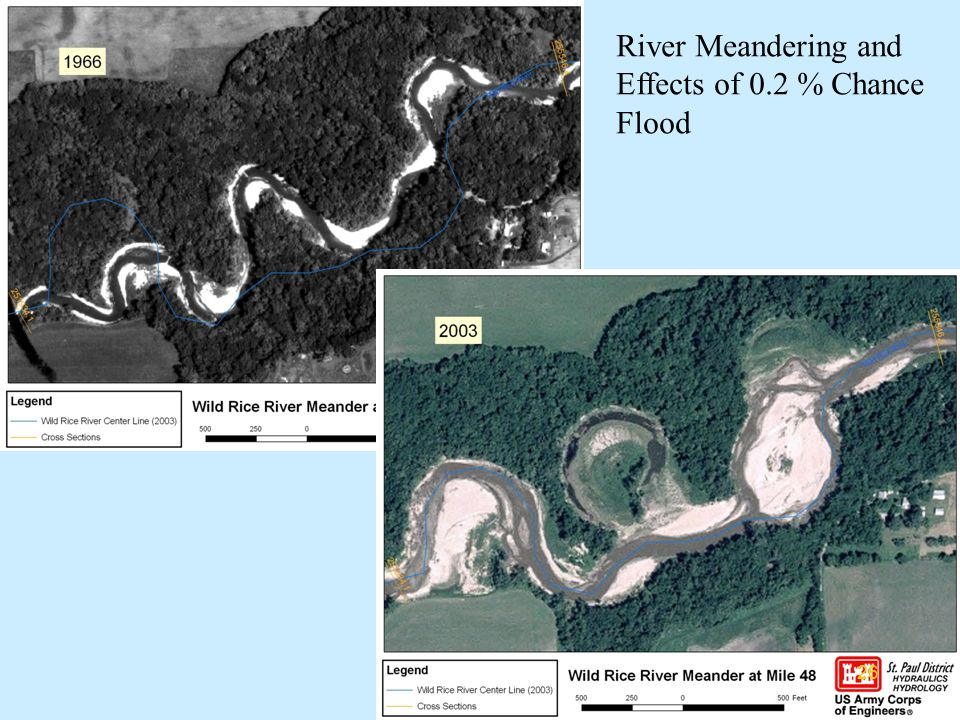 River Meandering and Effects of 0.2 % Chance Flood