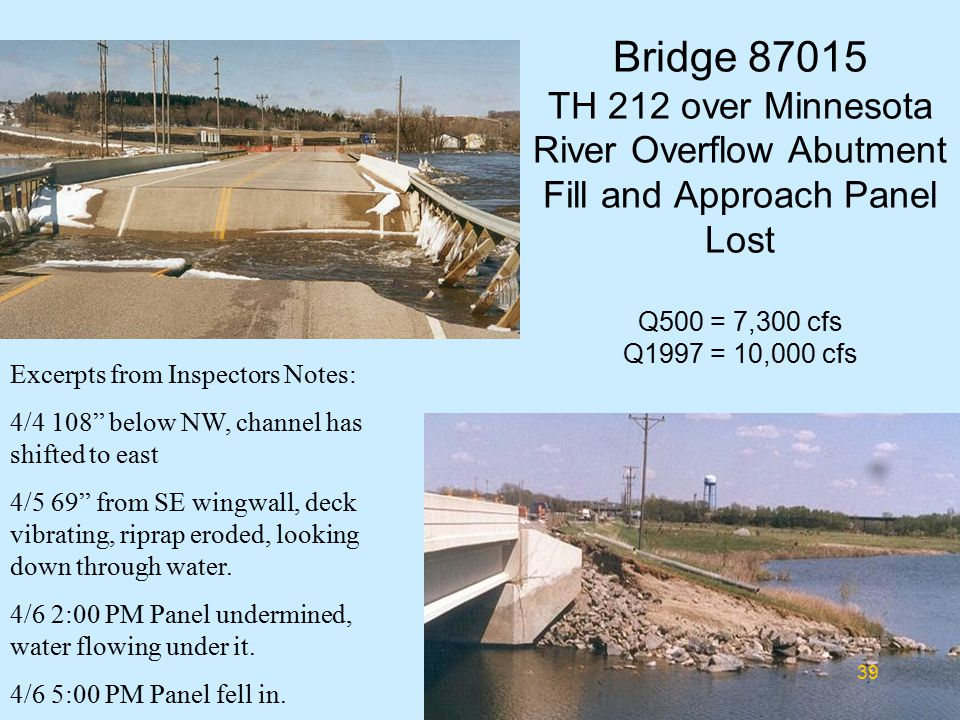 Bridge 87015 TH 212 over Minnesota River Overflow Abutment Fill and Approach Panel Lost Q500 = 7,300 cfs Q1997 = 10,000 cfs