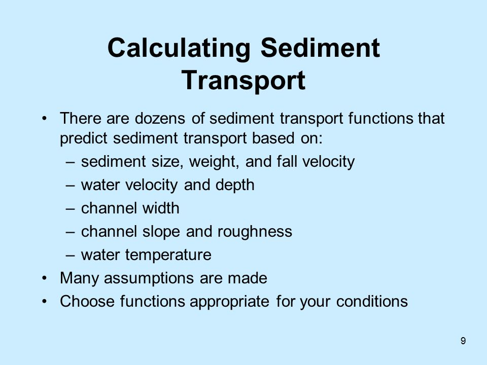 Calculating Sediment Transport