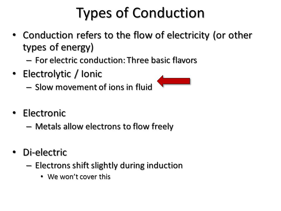 Types of Conduction Conduction refers to the flow of electricity (or other types of energy) For electric conduction: Three basic flavors.