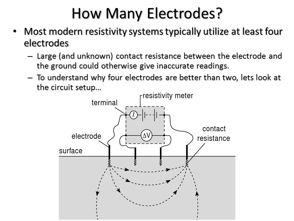 How Many Electrodes Most modern resistivity systems typically utilize at least four electrodes.