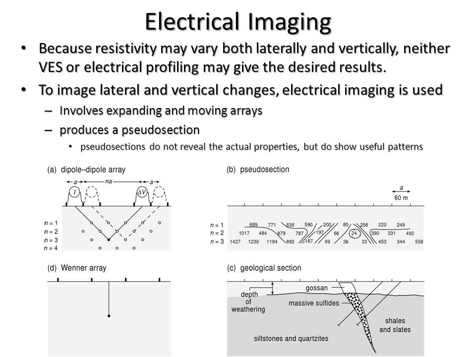 Electrical Imaging Because resistivity may vary both laterally and vertically, neither VES or electrical profiling may give the desired results.